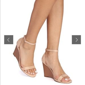 Windsor Nude Strappy Sandal Wedge, size 6